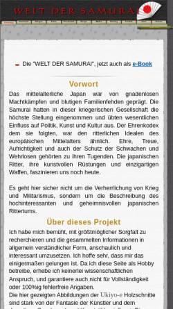 Vorschau der mobilen Webseite www.welt-der-samurai.de, Die Welt der Samurai
