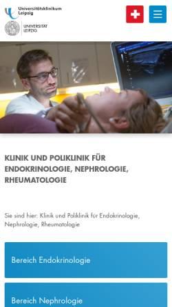 Vorschau der mobilen Webseite endokrinologie.uniklinikum-leipzig.de, Medizinische Klinik und Poliklinik III