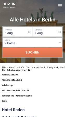 Vorschau der mobilen Webseite www.bsd-berlin.de, BSD - Gesellschaft für innovative Bildung mbH