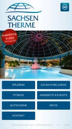 Vorschau der mobilen Webseite www.sachsen-therme.de, Freizeitbad Sachsen-Therme