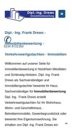 Vorschau der mobilen Webseite www.ing-drews.de, Immobilienbewertung Dipl. Ing Frank Drews