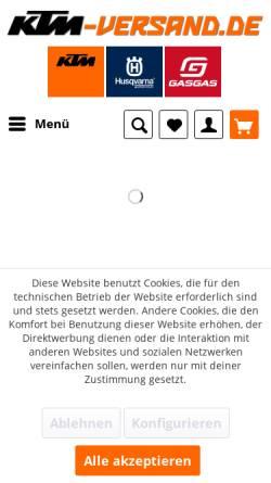 Vorschau der mobilen Webseite www.ktm-versand.de, MRS RAU Racing GbR