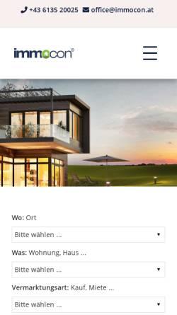 Vorschau der mobilen Webseite www.immocon.at, IMMOcon Immobilienconsulting Austria