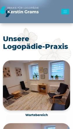 Vorschau der mobilen Webseite www.logopaedie-grams.de, Praxis für Logopädie Kerstin Grams