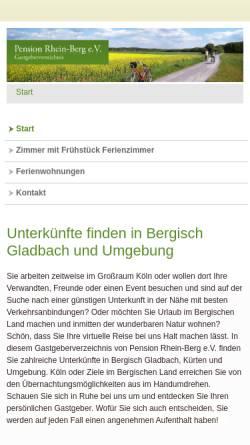 Vorschau der mobilen Webseite www.pension-rhein-berg.de, Pension Rhein-Berg