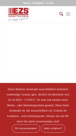 Vorschau der mobilen Webseite www.e-z-s.de, EZS Identtechnik GbR
