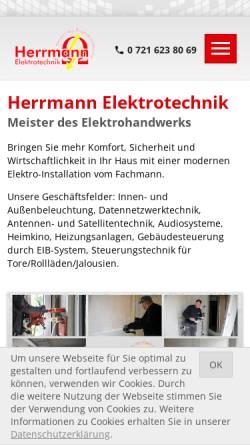 Vorschau der mobilen Webseite www.elektrotechnikherrmann.de, Herrmann Elektrotechnik