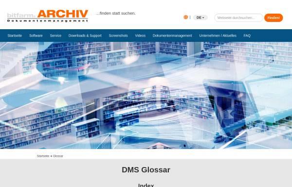 Vorschau von www.bitfarm-archiv.de, Bitfarm Dokumentenmanagement Glossar