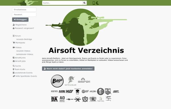 Vorschau von www.airsoft-verzeichnis.de, Großes deutschsprachiges soziales Netzwerk für Airsoft Spieler