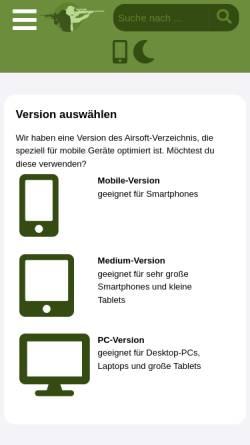 Vorschau der mobilen Webseite www.airsoft-verzeichnis.de, Großes deutschsprachiges soziales Netzwerk für Airsoft Spieler