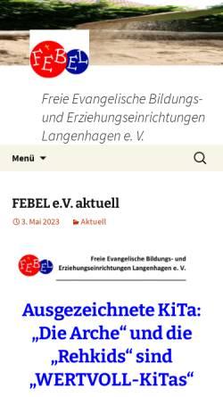 Vorschau der mobilen Webseite www.febel-ev.de, Febel - Freie Evangelische Bildungs- und Erziehungseinrichtungen Langenhagen e.V.
