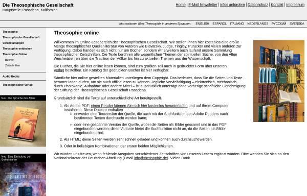 Vorschau von www.theosophie.de, Online-Bücher im Theosophischen Verlag