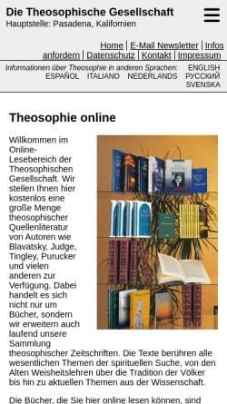 Vorschau der mobilen Webseite www.theosophie.de, Online-Bücher im Theosophischen Verlag
