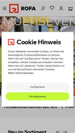 Vorschau der mobilen Webseite www.rofa.de, Rofa-Bekleidungswerk GmbH & Co. KG