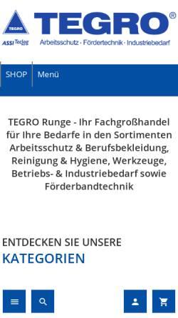 Vorschau der mobilen Webseite www.tegro-runge.de, Tegro Runge GmbH