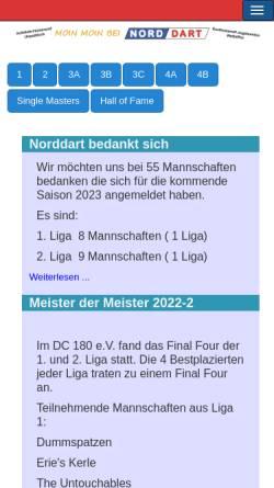 Vorschau der mobilen Webseite www.norddart.de, Dartliga Norddart e.V.