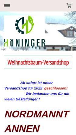 Vorschau der mobilen Webseite www.weihnachtsbaumversand.info, Christbaumhof Familie Höninger