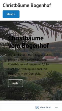 Vorschau der mobilen Webseite www.bogenhof.com, Christbäume Bogenhof - Familie Mutz