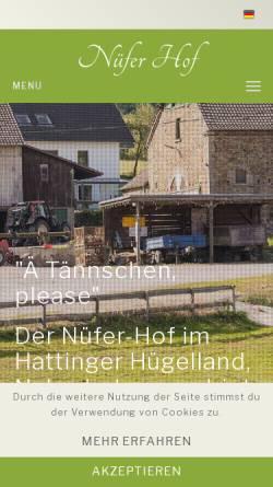 Vorschau der mobilen Webseite www.nuefer-hof.de, Nüfers Weihnachtsbäume