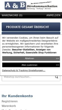 Vorschau der mobilen Webseite www.frankiersysteme.de, A&B Bürokommunikation, Inh. Jens Behre