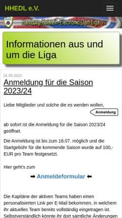 Vorschau der mobilen Webseite www.hhedl.de, Hamburg-Holstein E-Dart Liga