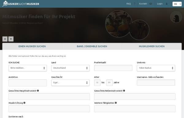 Vorschau von www.musiker-sucht-musiker.de, Musiker sucht Musiker