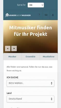 Vorschau der mobilen Webseite www.musiker-sucht-musiker.de, Musiker sucht Musiker