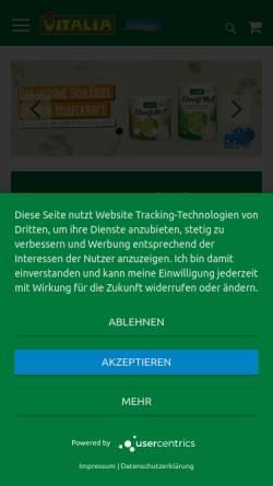 Vorschau der mobilen Webseite www.vitalia-reformhaus.com, Vitalia Reformhaus - Vita Sinn GmbH