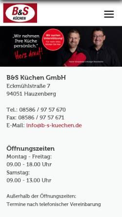Vorschau der mobilen Webseite www.bs-kuechentreff.de, B&S Küchentreff