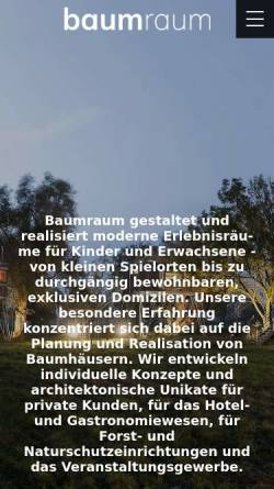 Vorschau der mobilen Webseite baumraum.de, baumraum - Andreas Wenning