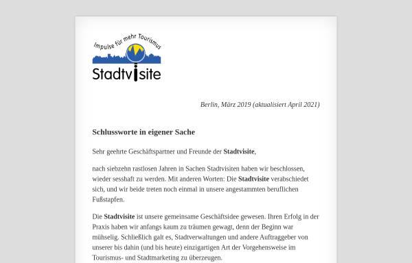 Vorschau von www.stadtvisite.de, Stadtvisite - Thomas von Saenger & Andrea Heerdegen GbR
