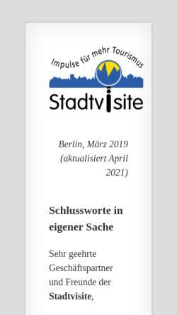 Vorschau der mobilen Webseite www.stadtvisite.de, Stadtvisite - Thomas von Saenger & Andrea Heerdegen GbR