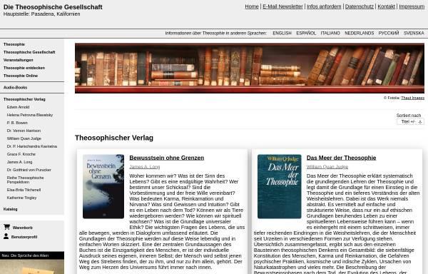 Vorschau von www.theosophie.de, Theosophischer Verlag