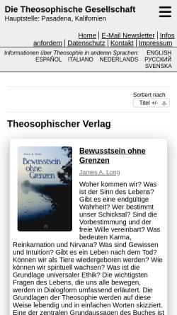 Vorschau der mobilen Webseite www.theosophie.de, Theosophischer Verlag
