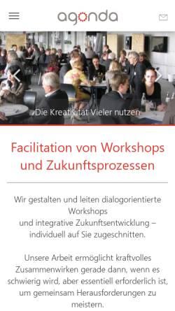 Vorschau der mobilen Webseite www.agonda.de, Agonda - Moderation, Facilitation, Coaching