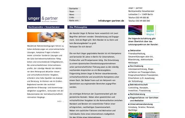 Vorschau von www.unger-partner.biz, Rechtsanwälte und Steuerberater Unger & Partner