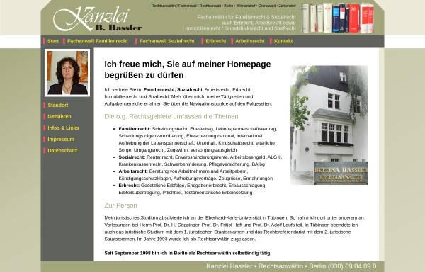 Vorschau von www.kanzlei-hassler.de, Rechtsanwältin Bettina Hassler