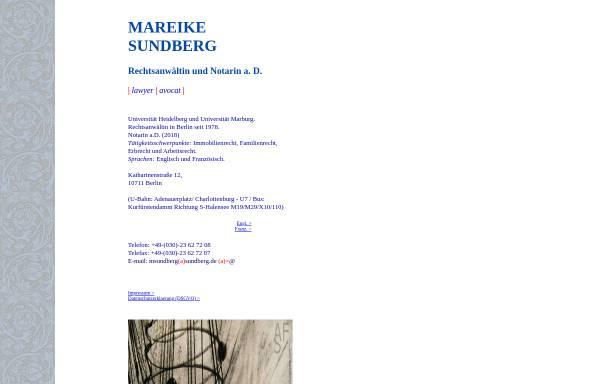 Vorschau von www.sundberg.de, Rechtsanwältin und Notarin Mareike Sundberg
