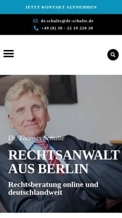 Vorschau der mobilen Webseite www.dr-schulte.de, Schulte, Dr. Thomas