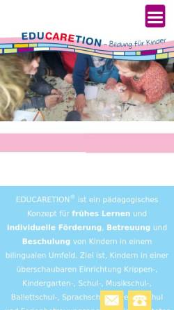Vorschau der mobilen Webseite www.educaretion.de, Educaretion Center Langenhagen - Gemeinnützige Gesellschaft für ganzheitliche Pädagogik mbH