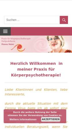 Vorschau der mobilen Webseite www.therapie-hannamaier.de, Maier, Hanna