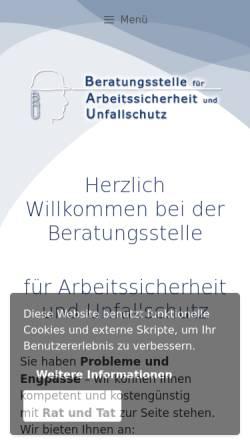 Vorschau der mobilen Webseite www.sicheresarbeiten.de, Beratungsstelle für Arbeitssicherheit und Unfallschutz