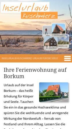 Vorschau der mobilen Webseite www.kkuschmierz.de, Ferienwohnungen Kuschmierz