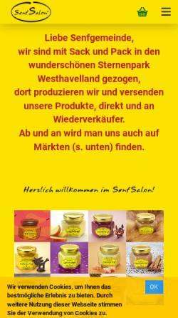 Vorschau der mobilen Webseite www.senfsalon.de, Senfsalon