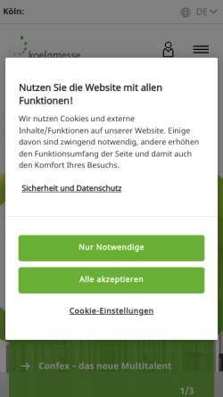 Vorschau der mobilen Webseite www.koelnmesse.de, IMM Cologne - Koelnmesse GmbH