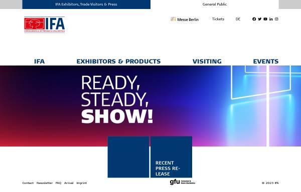 Vorschau von www.ifa-berlin.de, Internationale Funkausstellung Berlin