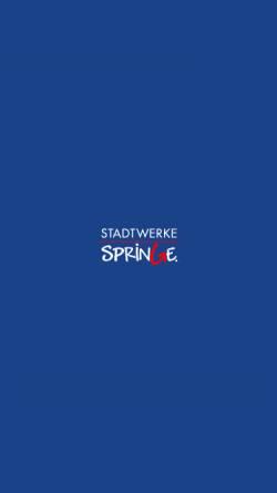 Vorschau der mobilen Webseite www.stadtwerke-springe.de, Stadtwerke Springe GmbH