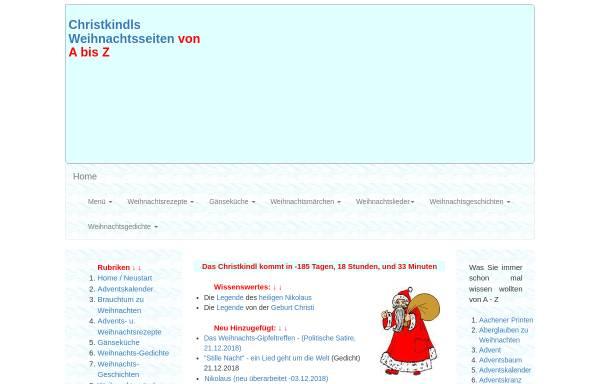 Vorschau von www.weihnachtsseiten.de, Christkindl`s Weihnachtsseiten von A - Z by Josef Dirschl
