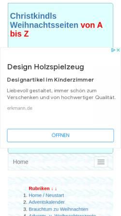 Vorschau der mobilen Webseite www.weihnachtsseiten.de, Christkindl`s Weihnachtsseiten von A - Z by Josef Dirschl