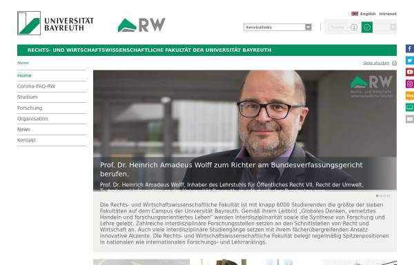 Vorschau von www.rw.uni-bayreuth.de, Rechts- und Wirtschaftswissenschaftliche Fakultät der Universität Bayreuth